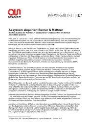Assystem akquiriert Berner & Mattner