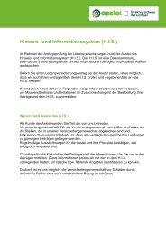 Hinweis- und Informationssystem (H.I.S.) - Asstel