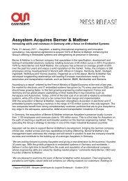 Assystem Acquires Berner & Mattner