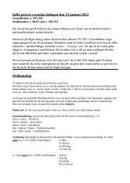 Inför provet i svenska tisdagen den 31 januari 2012 Ordkunskap