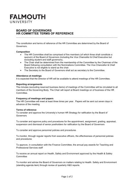 board of governors hr committee terms of reference