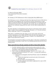 Summary of CPC Deliberations to Date on ... - Town of Falmouth