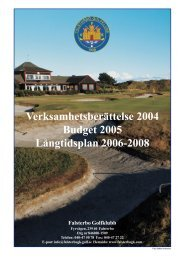 Verksamhetsberättelse 2004 - Falsterbo Golfklubb
