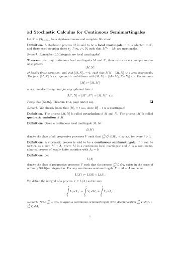 ad Stochastic Calculus for Continuous Semimartingales - FAM