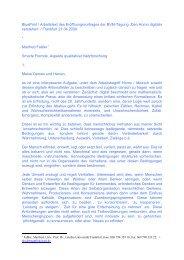 BluePrint / Arbeitstext des Eröffnungsvortrages der BVM ... - FAMe