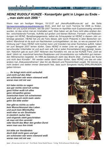 HEINZ RUDOLF KUNZE - Konzertjahr geht in ... - Familie P rigge