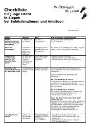 Checkliste für Behördengänge vor und nach der ... - Familie in Siegen