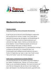 Medieninformation - Familie in Siegen