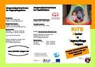 Das aktuelle Faltblatt zur Übersicht der KiTS - Familie in Siegen