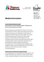 Medieninfo-Vorstellung Broschüre - Familie in Siegen