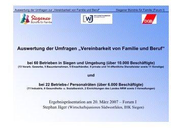 """Auswertung der Umfragen """"Vereinbarkeit von ... - Familie in Siegen"""