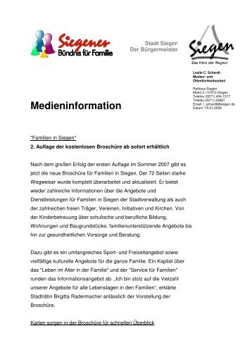 Medieninfo-Familienbroschüre 2008 - Familie in Siegen