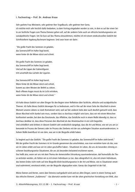 I Fachvortrag Prof Dr Andreas Kruse Sehr Geehrte Frau
