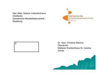 Dipl.-Med. Sabine Vodenitscharov Chefärztin Geriatrische ...