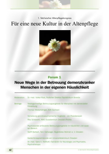 Für eine neue Kultur in der Altenpflege - Familie - Freistaat Sachsen