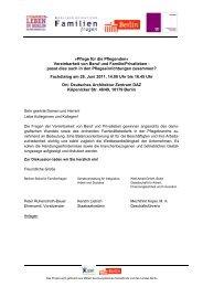 Pflege für die Pflegenden - Berliner Beirat für Familienfragen