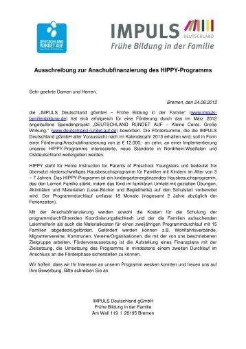Ausschreibung Anschubfinanzierung für das HIPPY Programm