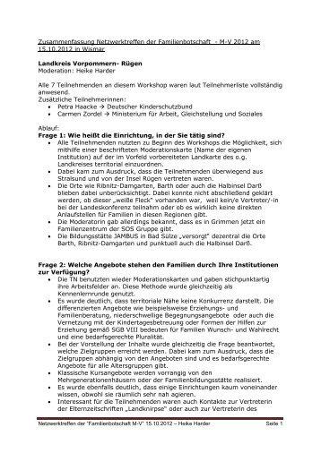 Landkreis Vorpommern- Rügen - Familienbotschaft MV