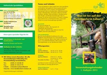 Was ist los auf der Familienfarm Lübars? Veranstaltungskalender