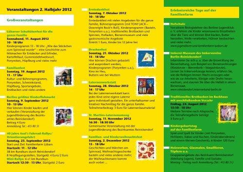 Veranstaltungen 2. Halbjahr 2012 - Familienfarm Lübars