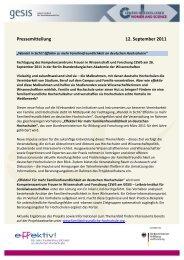 Pressemitteilung 12. September 2011 - Effektiv! Für mehr ...