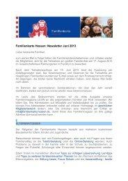 Familienkarte Hessen: Newsletter Juni 2013