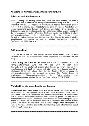 Angebote im Mehrgenerationenhaus Jung hilft Alt: Spielkreis und ...