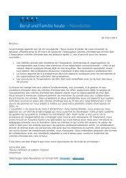 Newsletter du 26 mars 2013 - Familienservice