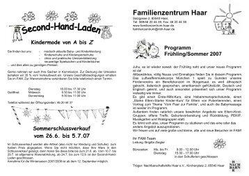 Kindermode von A bis Z - Familienzentrum Haar