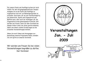 Veranstaltungen Jan. - Juli 2009 - Familienzentrum Worms
