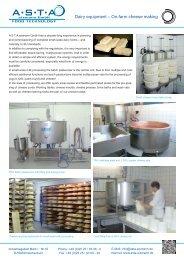 Dairy equipment – On-farm cheese making - A-S-T-A-eismann GmbH