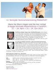 12. familylab–Seminarleitertraining FRANKFURT Wenn Sie Eltern ...