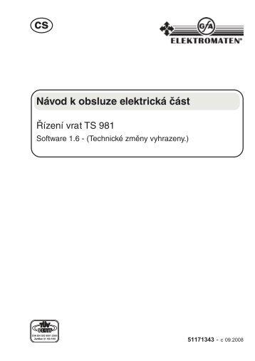 řídící jednotka - TS 981-09.2008 Software 1.6