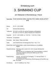 Zur Ausschreibung vom Shimano-Cup am 25.-26.10.08 ... - Fangplatz