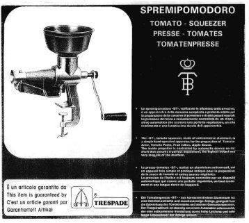 Tre Spade Tomato Squeezer, Model BT, No. 2