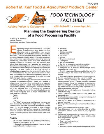 Planning the Engineering Design of a Food Processing Facility