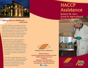 HACCP Assistance - Robert M. Kerr Food & Agricultural Products ...