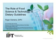 The Role of Food Science & Technology in Dietary Guidelines