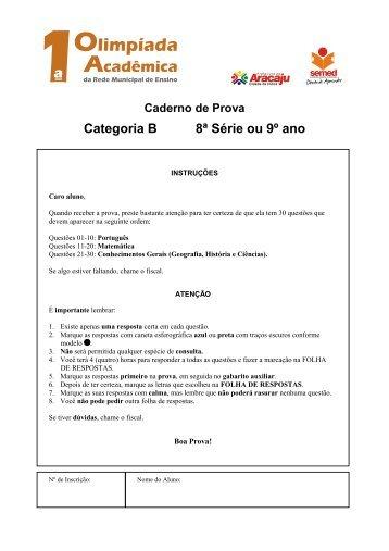 Capa da Prova CATEGORIA B 8 SERIE - Fapese
