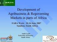 Development of Agribusiness & Regoverning Markets in ... - FARA