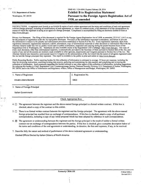 us Department of Justice Exhibit B to Registration Statement ... - FARA