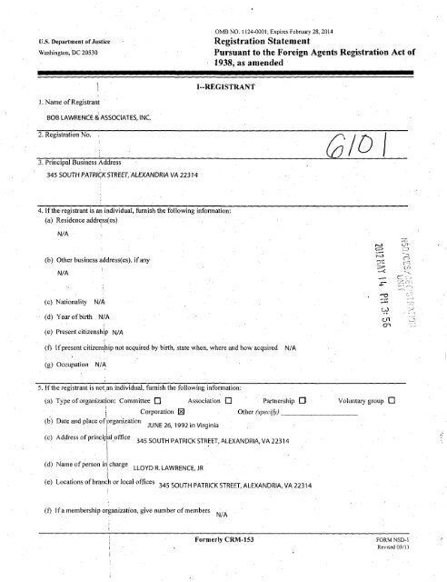 Registration Statement Pursuant to the Foreign Agents ... - FARA