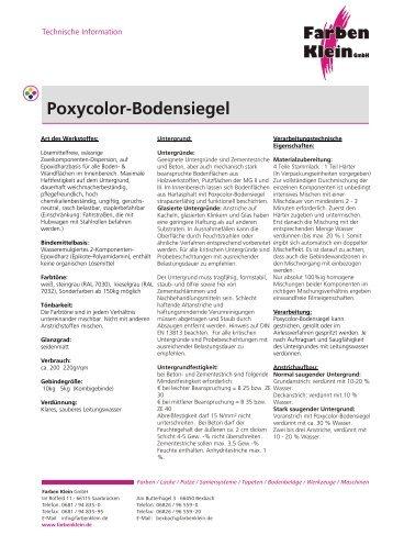 Poxycolor-Bodensiegel - Farben Klein GmbH