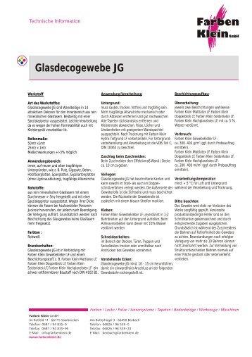 Glasdecogewebe JG - Farben Klein GmbH