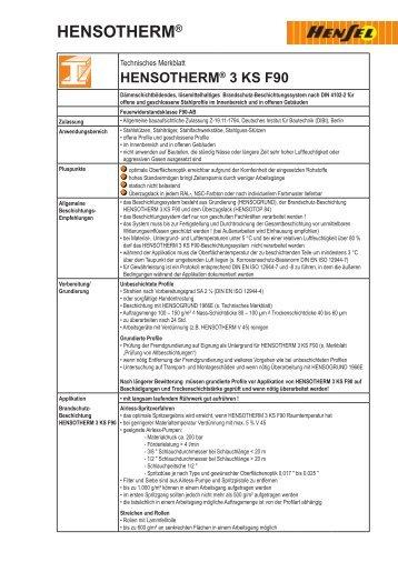 hensotherm® 3 ks f90 - Farben Klein GmbH