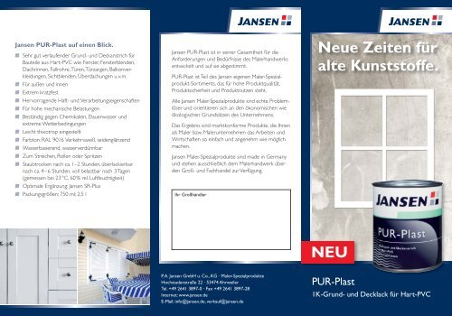 PurPlast Infobroschüre - Farbenhaus Metzler Onlineshop