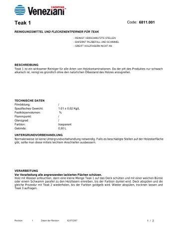 Technisches Merkblatt von Teak 1 - Farbenhaus Metzler Onlineshop