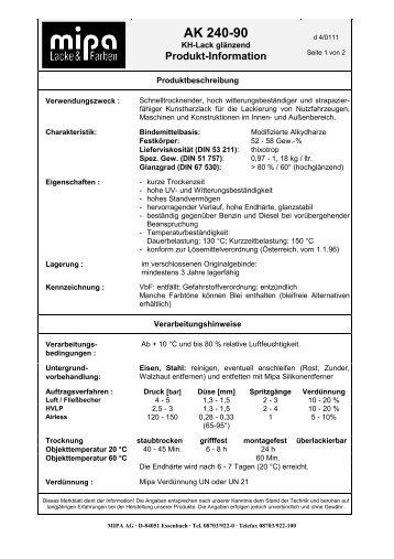 Technisches Merkblatt AK 240-90 - Farbenhaus Metzler Onlineshop