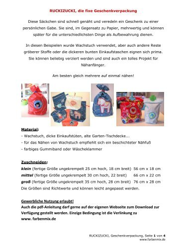 RUCKIZUCKI, Geschenkverpackung - Farbenmix