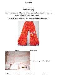 Broek KIM Werkbeschijving Voor beginnende naaisters ... - Farbenmix